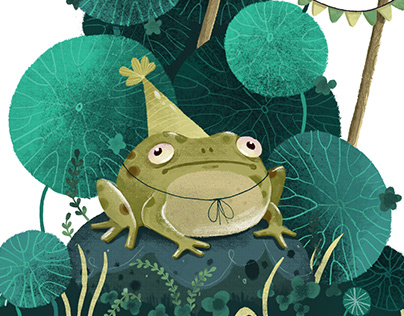 Digital congratulatory illustration with a frog.