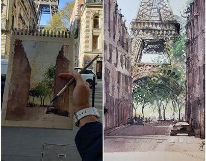 Eiffel Tower / Plein Air - Watercolour