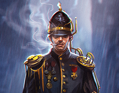 Steampunk vintage policeman