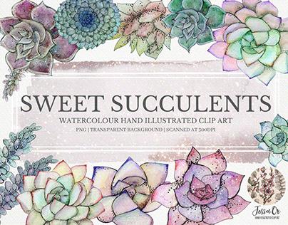 Sweet Succulents Clipart Set