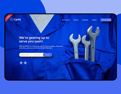 Landing page website Car services app