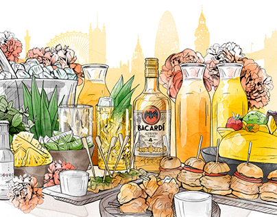 Cocktail Illustrations // Bacardi
