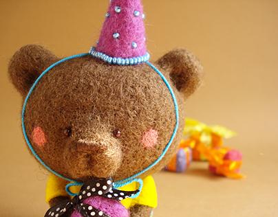 """""""Louie, the Birthday Bear"""", felted art bear"""