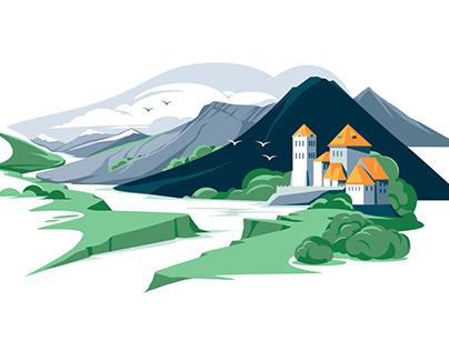 Set of flat landscapes vector illustrations
