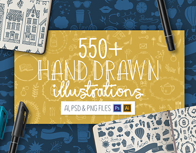 550 Hand Drawn Illustrations