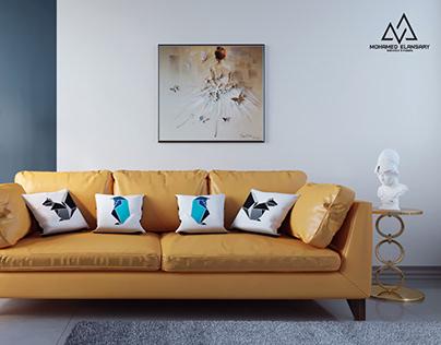 Simple Modern Corner Living room