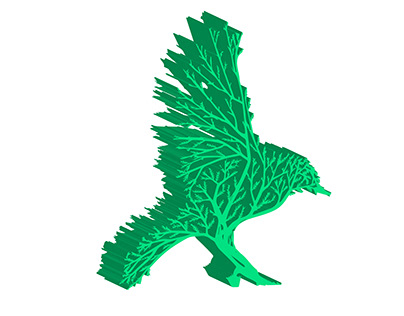 3D Green Bird tree