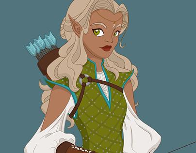 D&D Character: Quintessa the Unsung, a Half-Elf Ranger