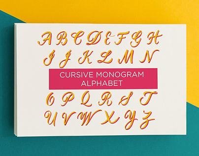 Cursive monogram alphabet