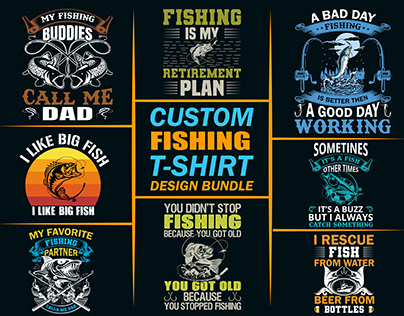 Custom Fishing T-shirts Design Bundle