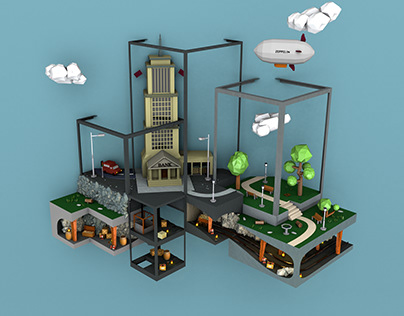 3D cube city
