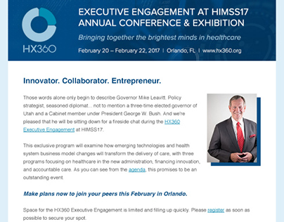 HIMSS HX360 Executive Program Email Newsletter