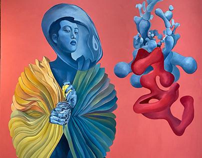 "Acoustic research"" oil, acrylic, canvas, 200x200cm"
