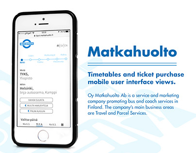 Matkahuolto timetables and ticket purchase UI design