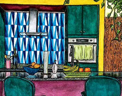 colorful kitchen // interior illustration, watercolor