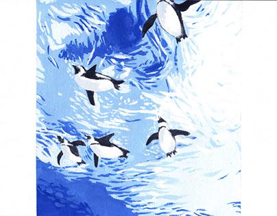 African penguins (illustration, acrylics, 2021)