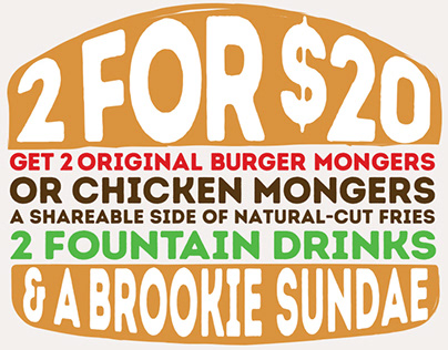 Burger Monger 2 for $20