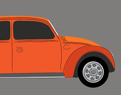 A Minimalist Vector VW Beetle Car