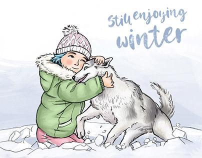 Still enjoying winter (Girl with husky dog)