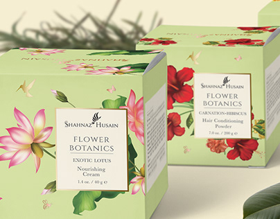 Shahnaz Husain packaging design and illustration