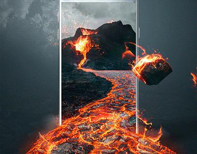 Volcano eruption photomanipulation on smartphone. PM