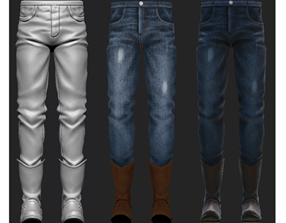 Carved Jeans pants in zbrush and up texture in the SB