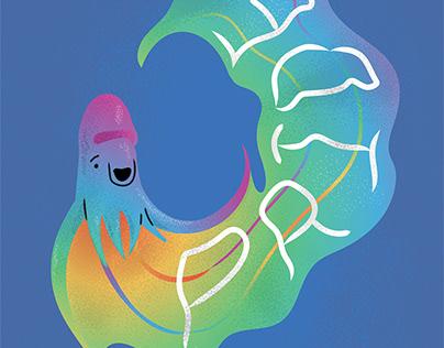 """Rainbow"" Blanket Octopus"