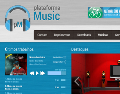 plataforma Music . Identidade visual e layout para site