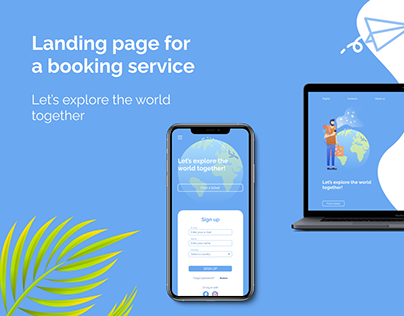 Landing page for a booking service