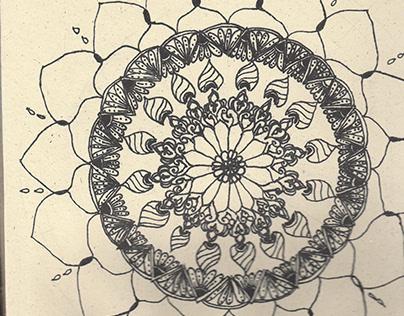 Mandala with henna patterns