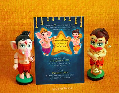Illustrated Ayush Homam Invitation - Indian Ceremony