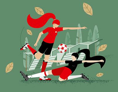 Women Football Illustration