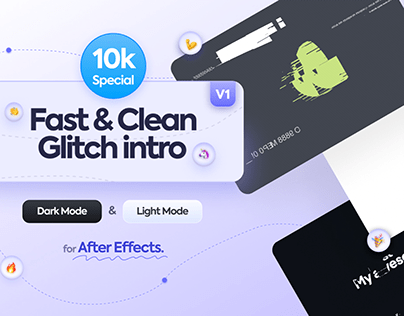 Clean Glitch intro after effects template - [Free]