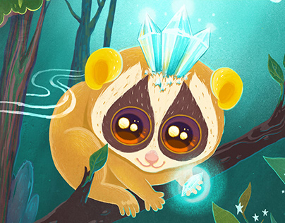 Magic lemur lori in the mysterious forest