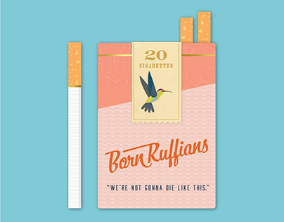 Born Ruffians Vintage Cigarette Pack Flat Illustration