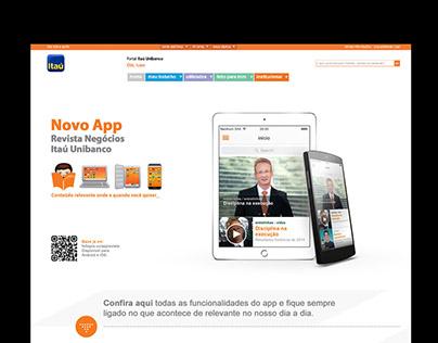 Página criada para o app Revista e Negócios do Itaú