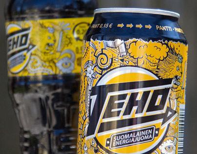 Teho energy drink packaging