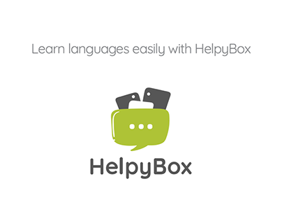 Helpybox logo for an app where you can learn languages