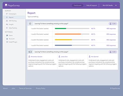 PageSurvey - Analytic, Survey Platorm, Dashboard