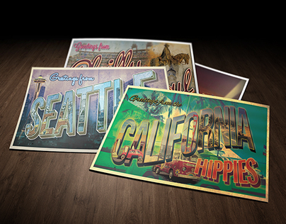 Retro Cards Design for Rock Tour across America