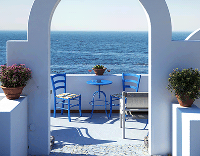 Terrace overlooking the sea-based on a reference