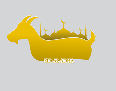 Eid al adha mubarak background with goat and mosque Fre