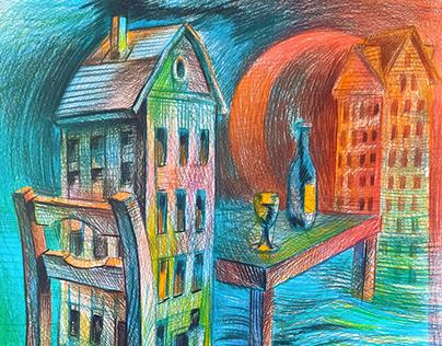 Paper,(297x420mm) color pencils drawing, no title.