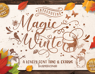 Magic Winter - Lovely Font Trio + Extras