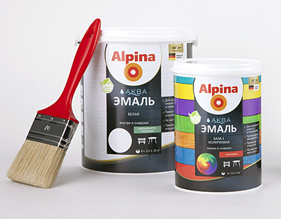 Alpina: packaging design for the line of paints