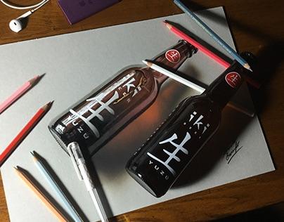 Hyper-realistic drawing video: bottle of iki