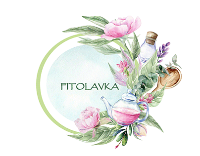 Watercolor logo for a herb store