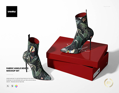 Fabric Ankle Boots Mockup Set
