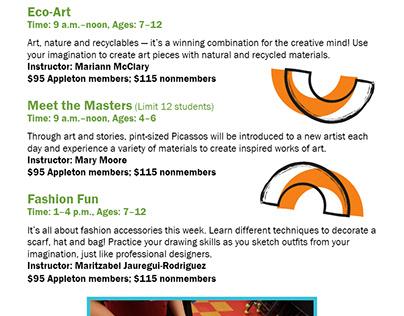 Education brochure: Summer Art Camp for Appleton Museum