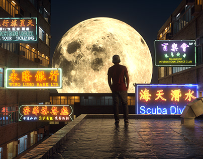 Supermoon over rooftop